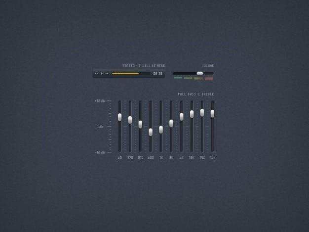 Odtwarzacz muzyki elementy interfejsu psd