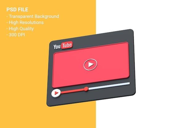 Odtwarzacz wideo youtube projekt ekranu 3d lub interfejs odtwarzacza multimediów wideo