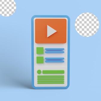 Odtwarzacz youtube w urządzeniu z ilustracją 3d
