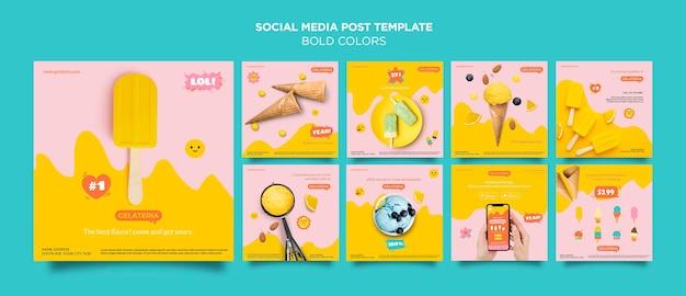 Odważne kolory koncepcja szablon postu w mediach społecznościowych