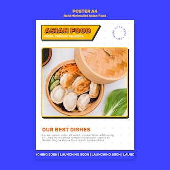 Odważny minimalistyczny szablon plakatu azjatyckiego jedzenia