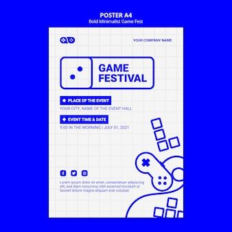 Odważny minimalistyczny szablon ulotki fest fest gry