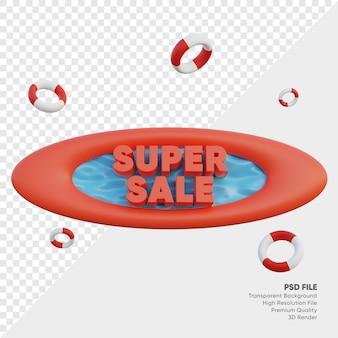 Odznaka super sprzedaży z letnim stylem i dekoracją opon do pływania renderowana 3d
