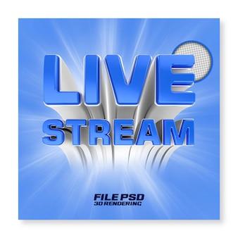 Odznaka tekstowa renderowania 3d na żywo na facebooku na białym tle