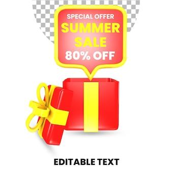 Oferta letniej wyprzedaży z czerwonym i żółtym pudełkiem prezentowym z niespodzianką 3d render na białym tle