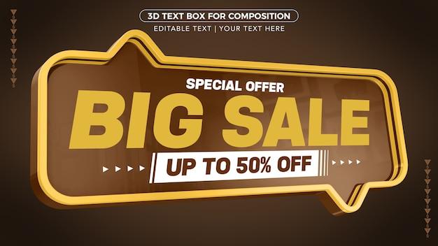 Oferta specjalna duża promocja z rabatem aż do renderowania 3d