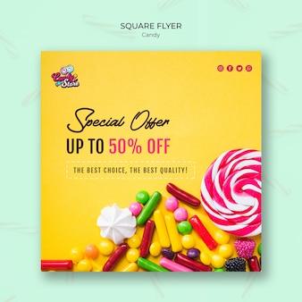 Oferta specjalna sklep z cukierkami kwadratowa ulotka