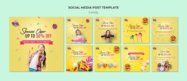 Oferta specjalna sklep z cukierkami post w mediach społecznościowych
