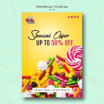 Oferta specjalna sklep z cukierkami żółty plakat