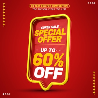 Oferta specjalna super sale red 3d text box z rabatem do 60%