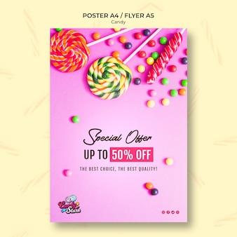 Oferta specjalna szablon ulotki sklep ze słodyczami