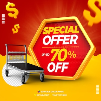 Oferta specjalna w polu tekstowym 3d z wózkiem towarowym do 70% taniej