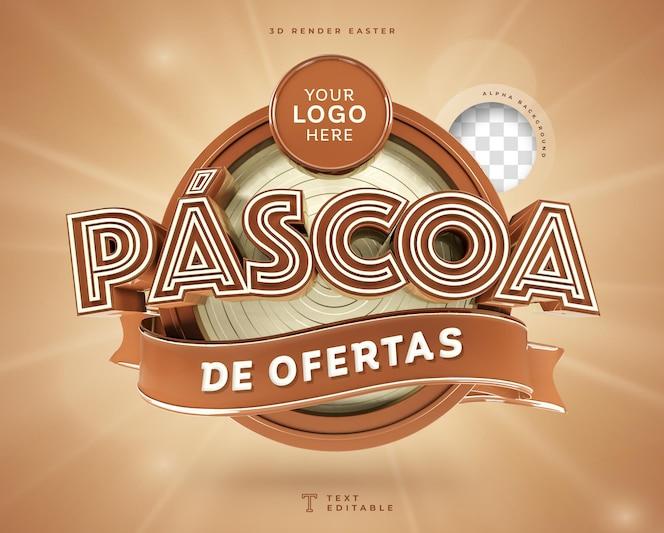 Oferty wielkanocne w brazylii 3d render czekolady
