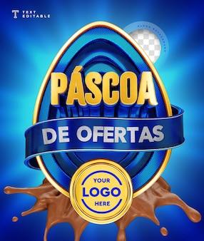 Oferty wielkanocne w brazylii renderowania 3d czekoladowy niebieski