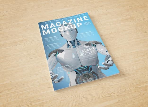 Okładka magazynu na drewnianej powierzchni makieta