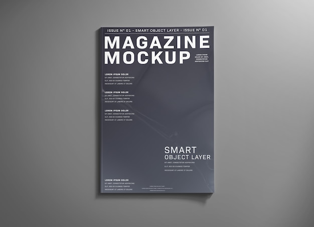 Okładka magazynu na szarej makiecie