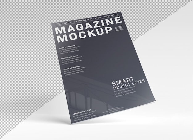 Okładka magazynu wycięta na białej makiecie