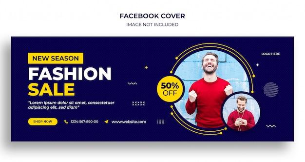 Okładka na facebooka i szablon banera internetowego na sprzedaż mody