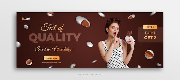 Okładka na osi czasu na facebooku z menu czekoladowych cukierków lub szablon banera internetowego w mediach społecznościowych