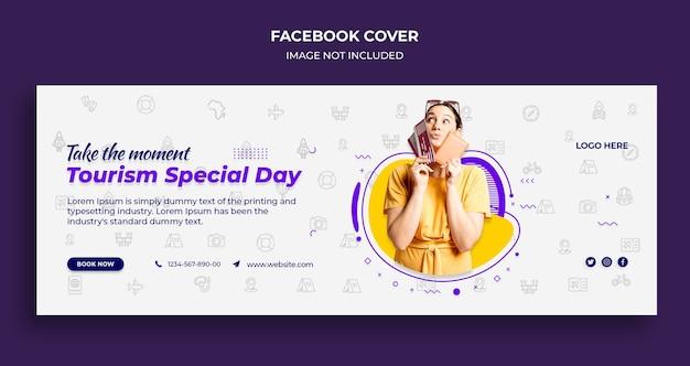 Okładka osi czasu na facebooku i szablon banera internetowego na specjalny dzień turystyki