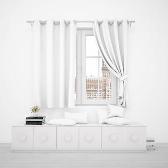 Okno z białymi zasłonami i minimalistycznymi meblami