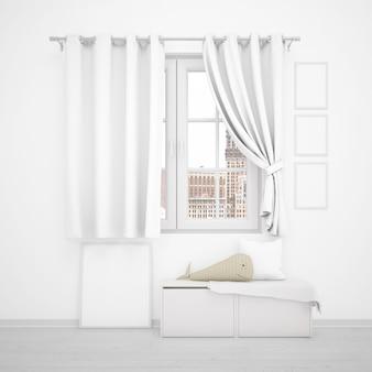 Okno z białymi zasłonami, minimalistycznymi meblami i ramkami do zdjęć