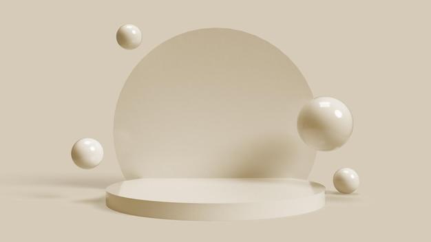 Okrągła beżowa podstawa 3d do umieszczania obiektów