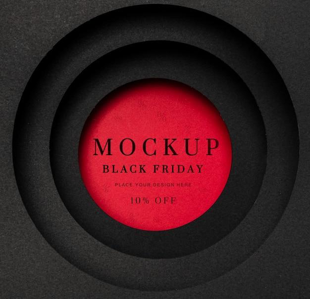 Okrągła czerwona makieta czarny piątek