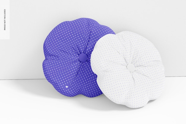 Okrągła poduszka z makietą guzika, pochylona
