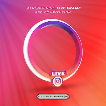 Okrągła ramka 3d do przesyłania strumieniowego na żywo na instagramie w mediach społecznościowych