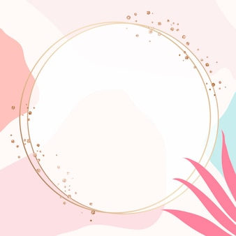 Okrągła ramka psd w stylu memphis z uroczymi różowymi liśćmi