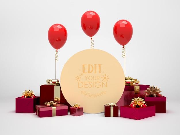 Okrągła tablica wśród prezentów i balonów