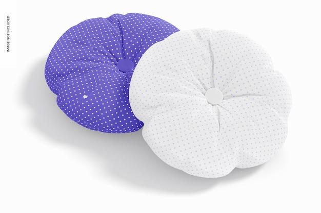 Okrągłe poduszki z makietą guzików, widok z góry