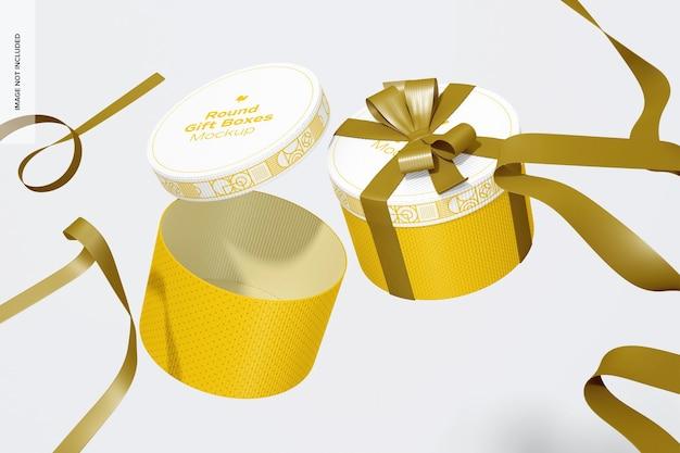 Okrągłe pudełka na prezenty z makietą wstążki, spadające