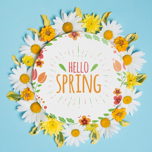 Okrągły szablon papieru z kwiatami na wiosnę