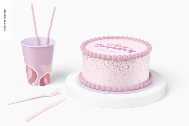 Okrągły tort z makietą kubka