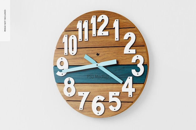 Okrągły zegar ścienny makieta, prawy widok