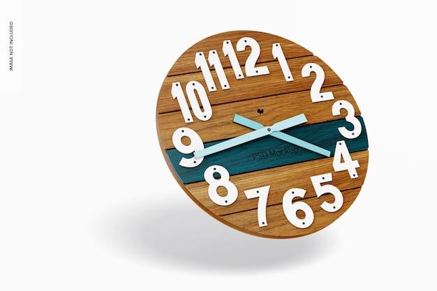 Okrągły zegar ścienny makieta, spadający