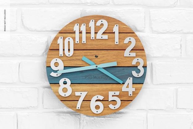 Okrągły zegar ścienny makieta, widok z przodu