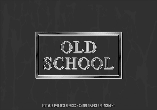 Old school white edytowalny efekt tekstowy