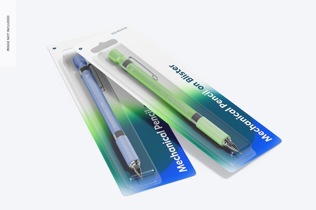 Ołówek automatyczny na makiecie blistra, perspektywa