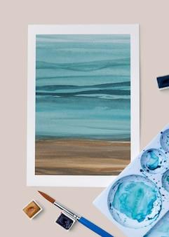 Ombre malowanie na plaży makieta psd w stylu flat lay lay
