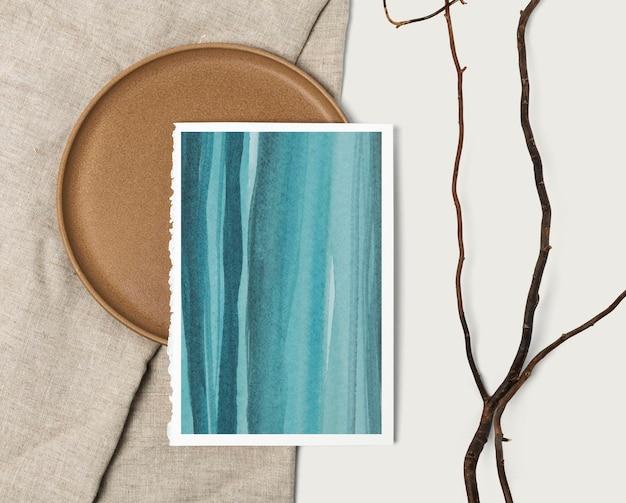 Ombre ocean malarstwo psd makieta w płaskim stylu lay lay