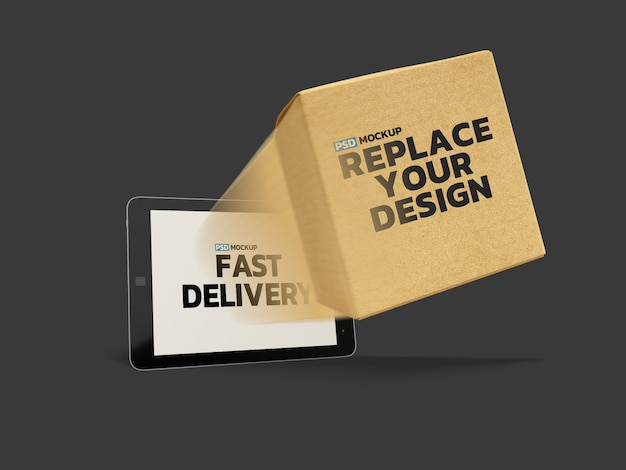 Online delivery box mockup 3d rendering design