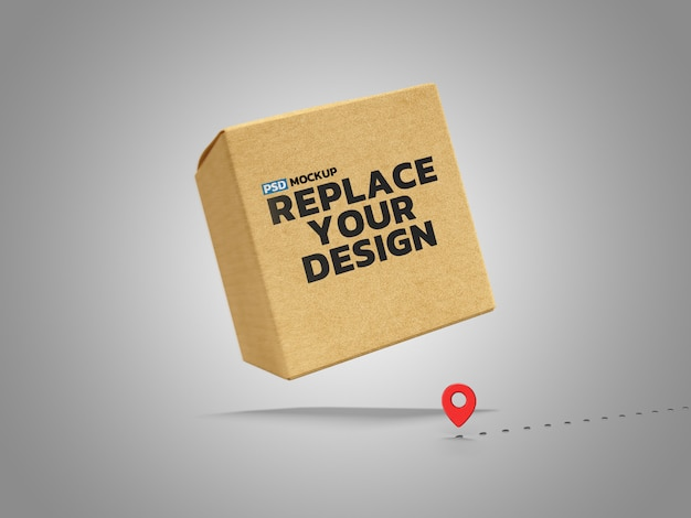 Online delivery box mockup 3d rendering design