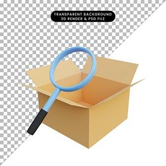 Opakowanie ilustracji 3d otwarte z powiększeniem