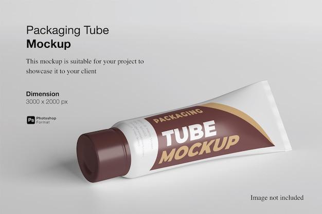 Opakowanie tube makieta renderowania 3d na białym tle