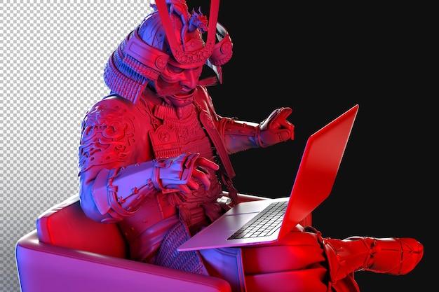Opancerzony samuraj korzystający z laptopa jest unoszony w renderowaniu 3d