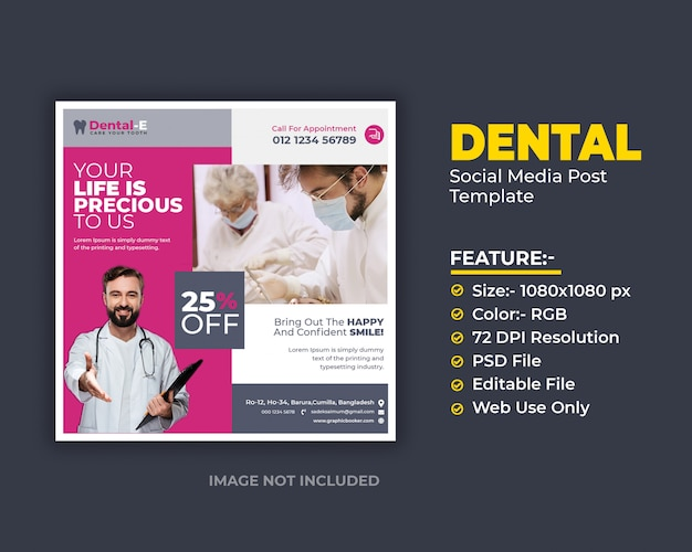Opieka stomatologiczna szablon mediów społecznościowych post