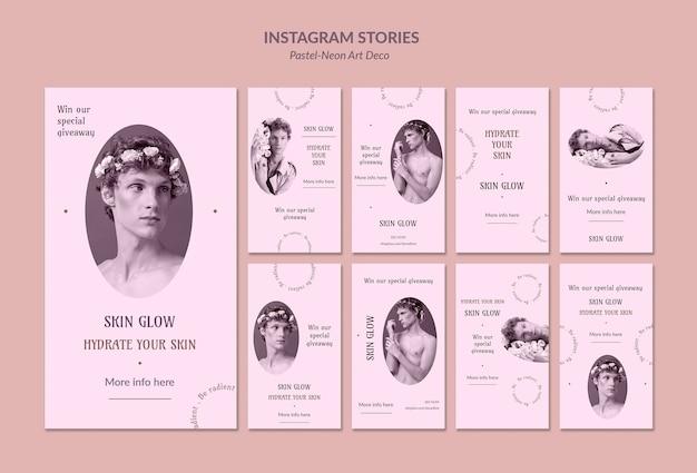 Opowieści na instagramie szablon projektu pastelowej sztuki neo